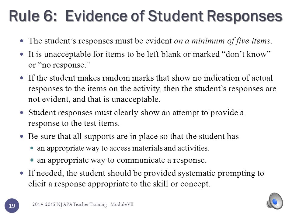 Rule 6: Evidence of Student Responses