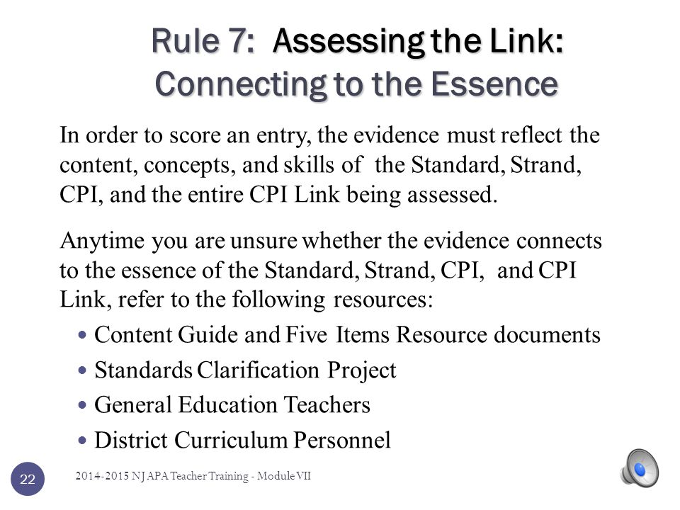 Rule 7: Assessing the Link: Connecting to the Essence