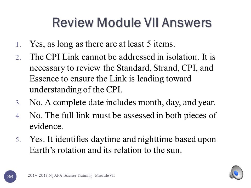 Review Module VII Answers