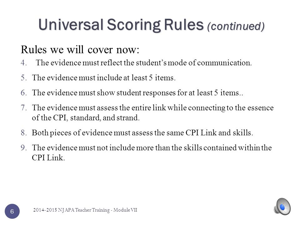 Universal Scoring Rules (continued)