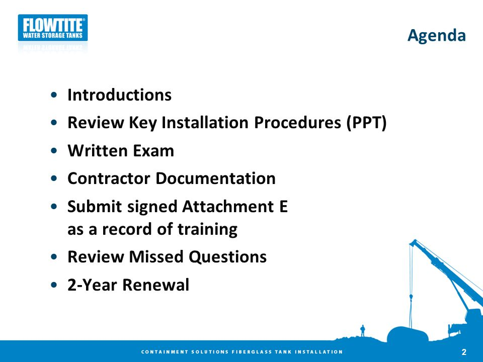 Agenda Introductions. Review Key Installation Procedures (PPT) Written Exam. Contractor Documentation.
