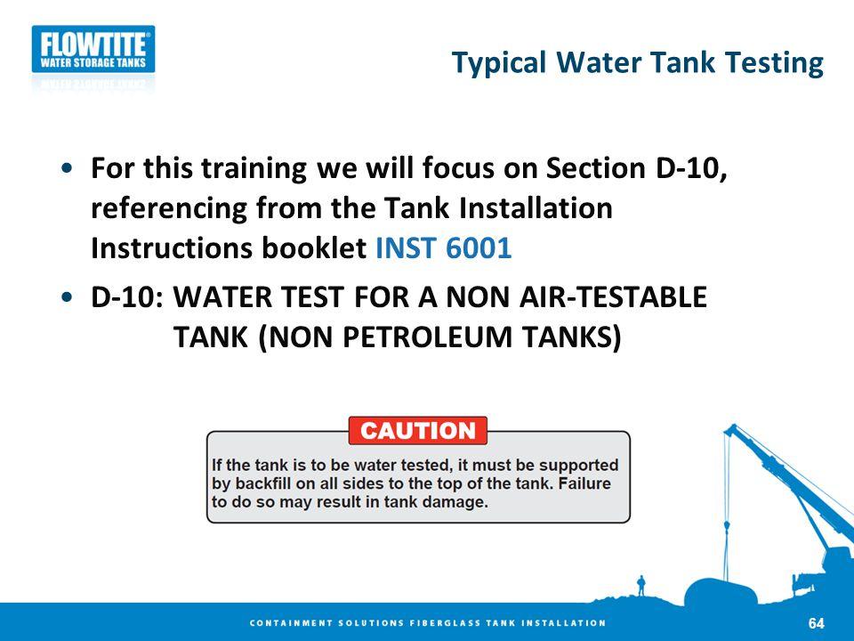 Typical Water Tank Testing