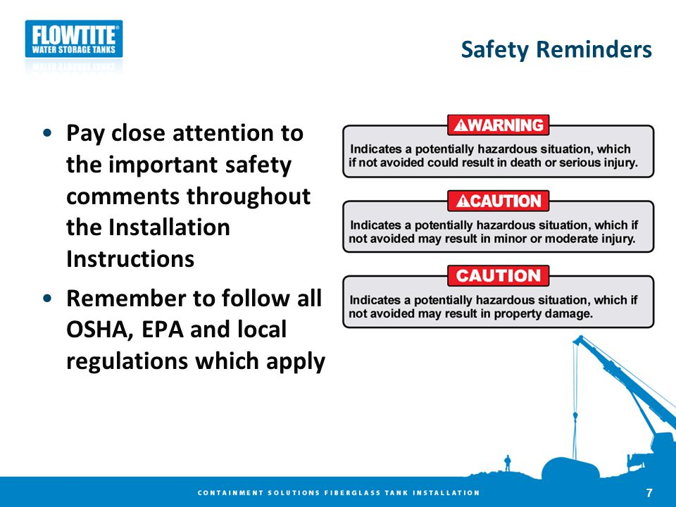 Safety Reminders Pay close attention to the important safety comments throughout the Installation Instructions.