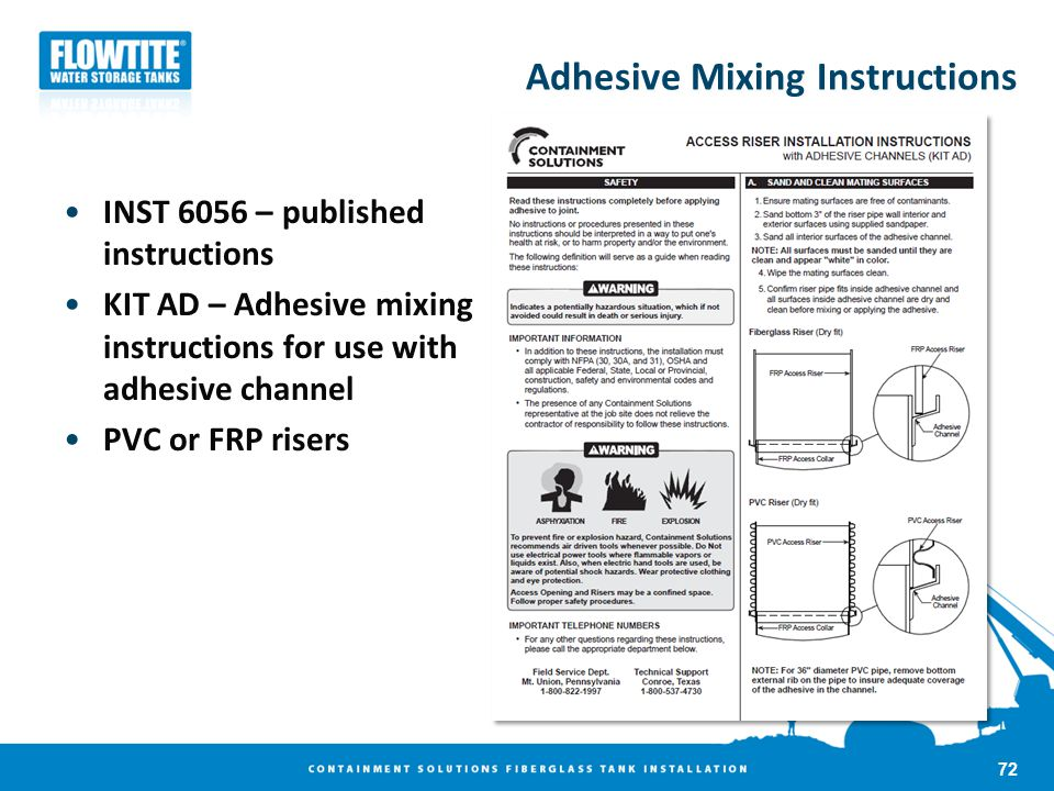 Adhesive Mixing Instructions