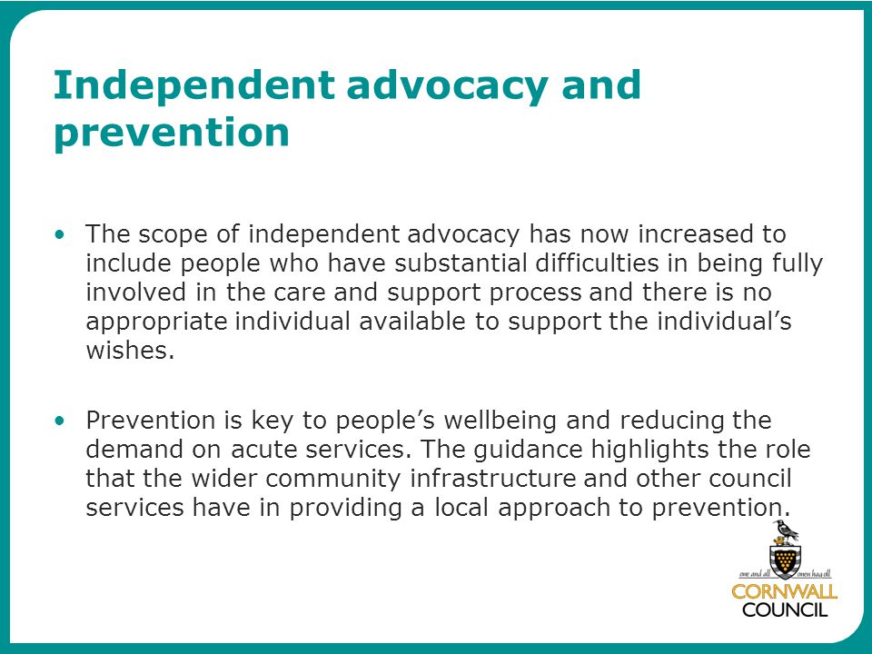 Independent advocacy and prevention