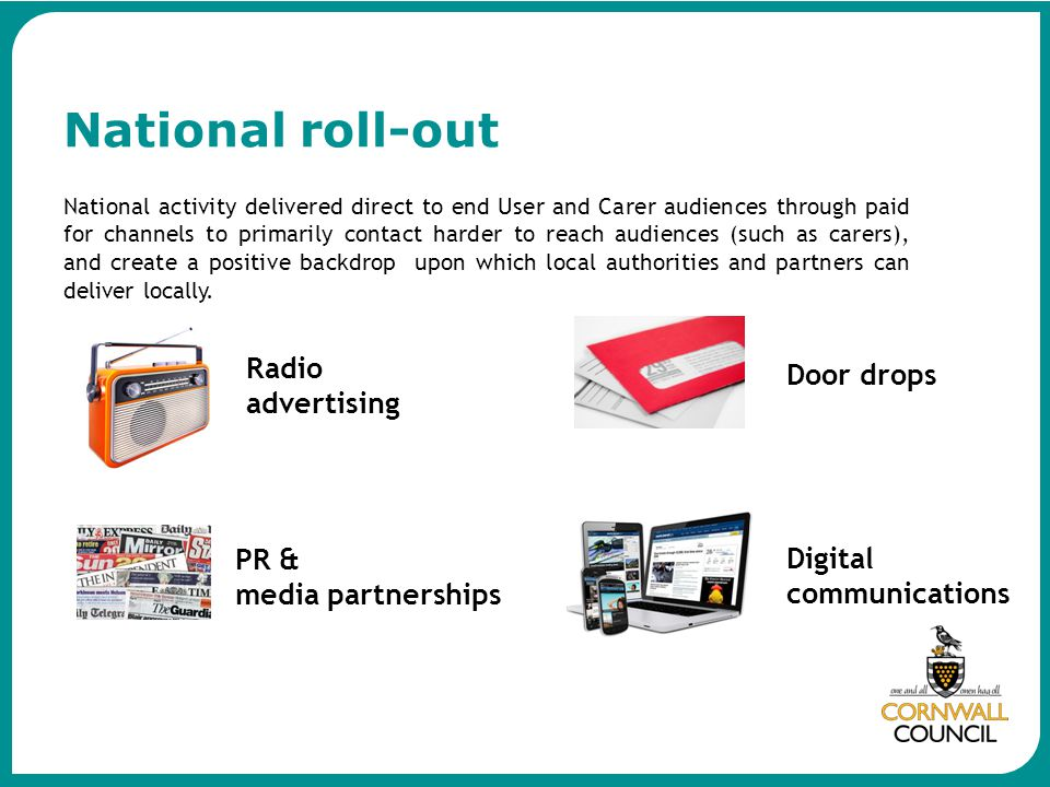 National roll-out Radio advertising Door drops PR & media partnerships