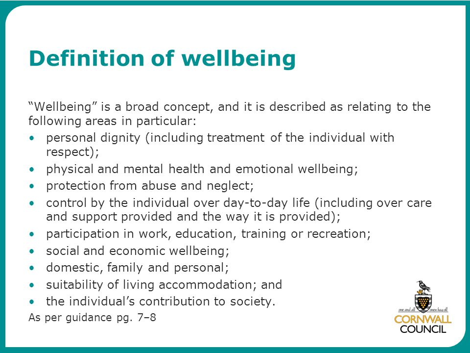 Definition of wellbeing