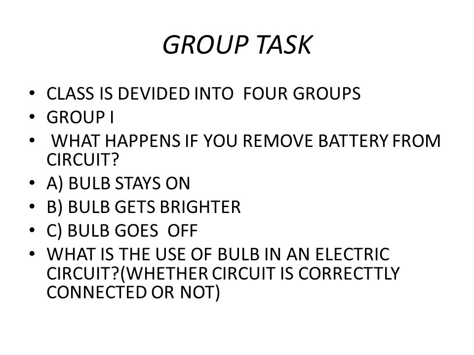 GROUP TASK CLASS IS DEVIDED INTO FOUR GROUPS GROUP I