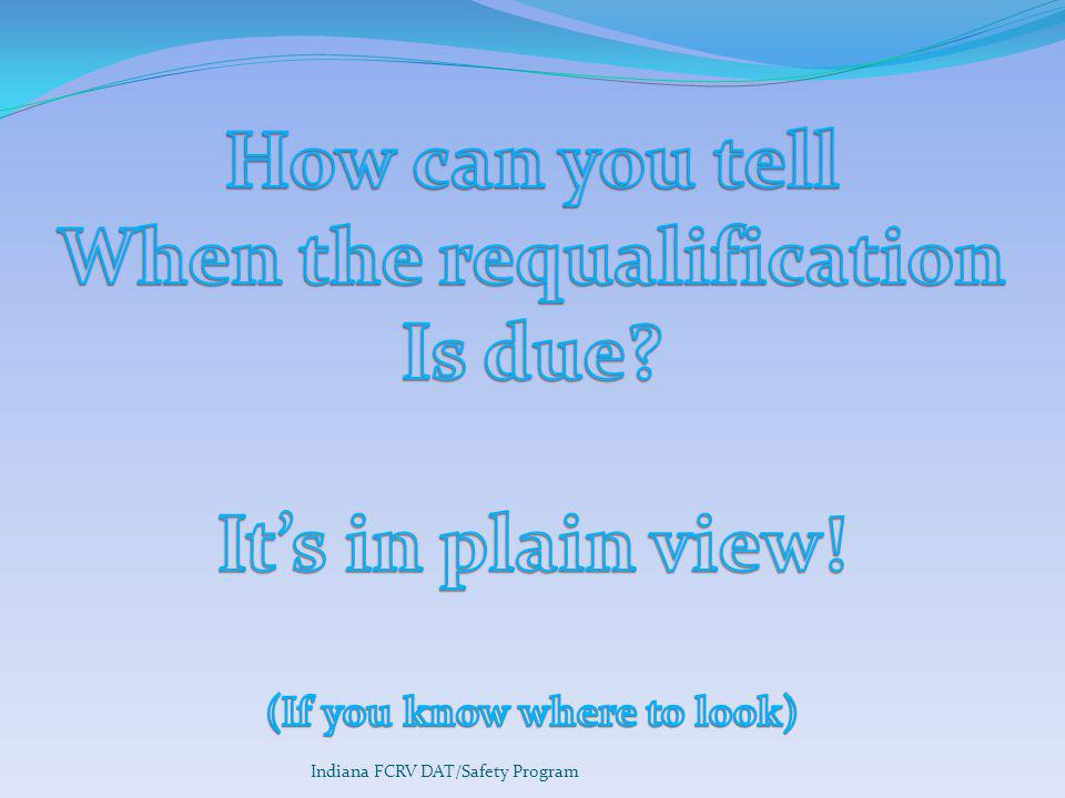 When the requalification (If you know where to look)