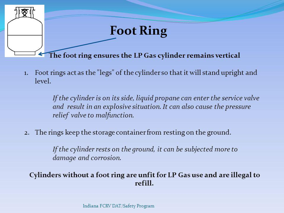 The foot ring ensures the LP Gas cylinder remains vertical