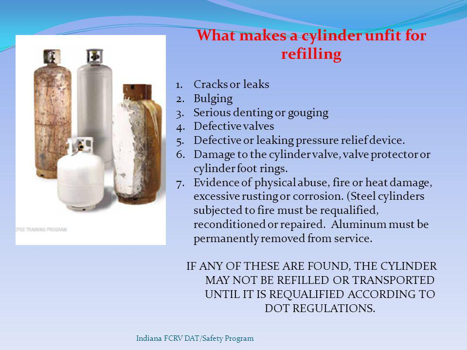 What makes a cylinder unfit for refilling