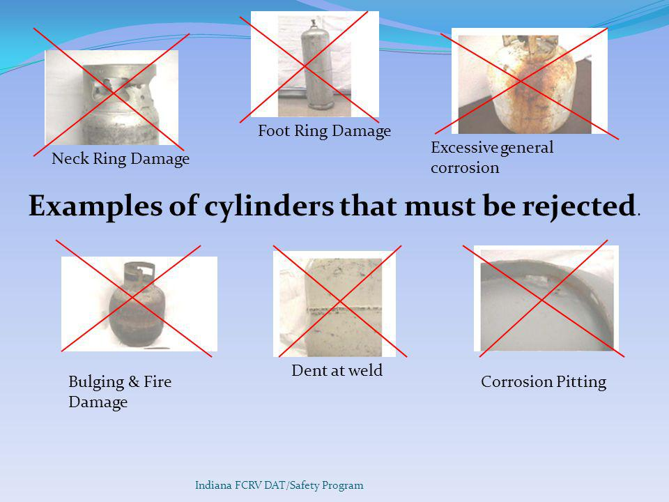 Examples of cylinders that must be rejected.