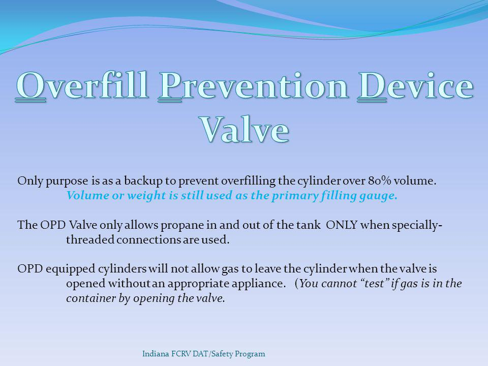 Overfill Prevention Device Valve