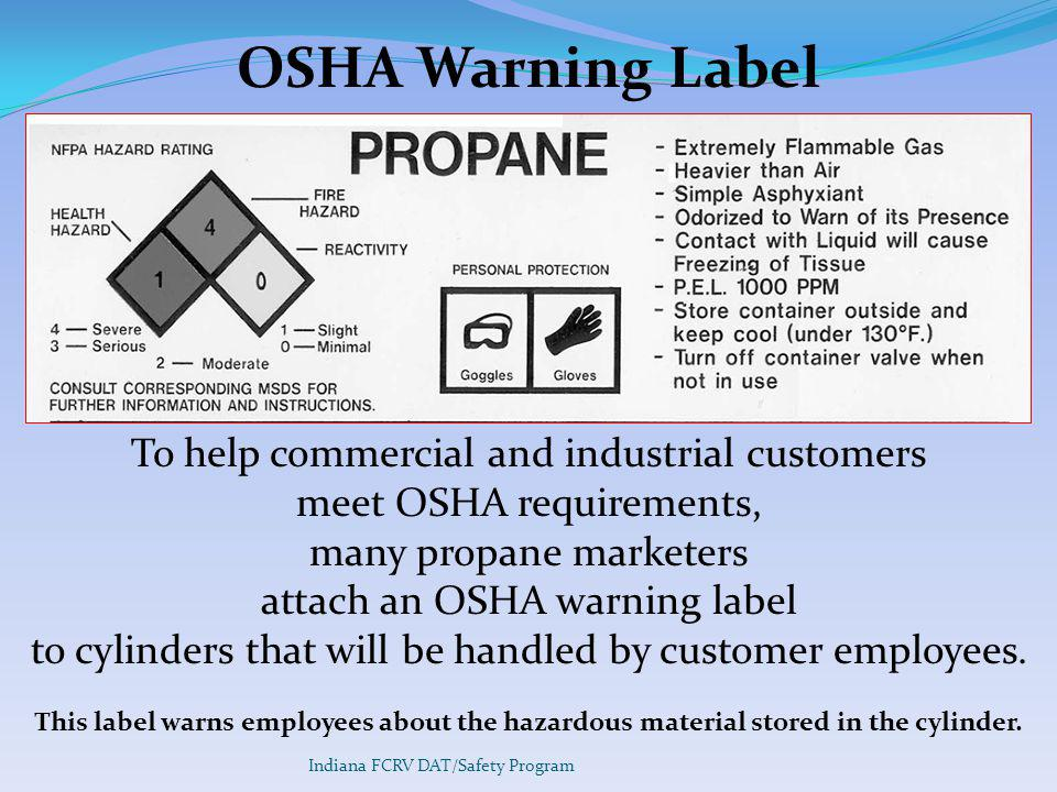 OSHA Warning Label To help commercial and industrial customers