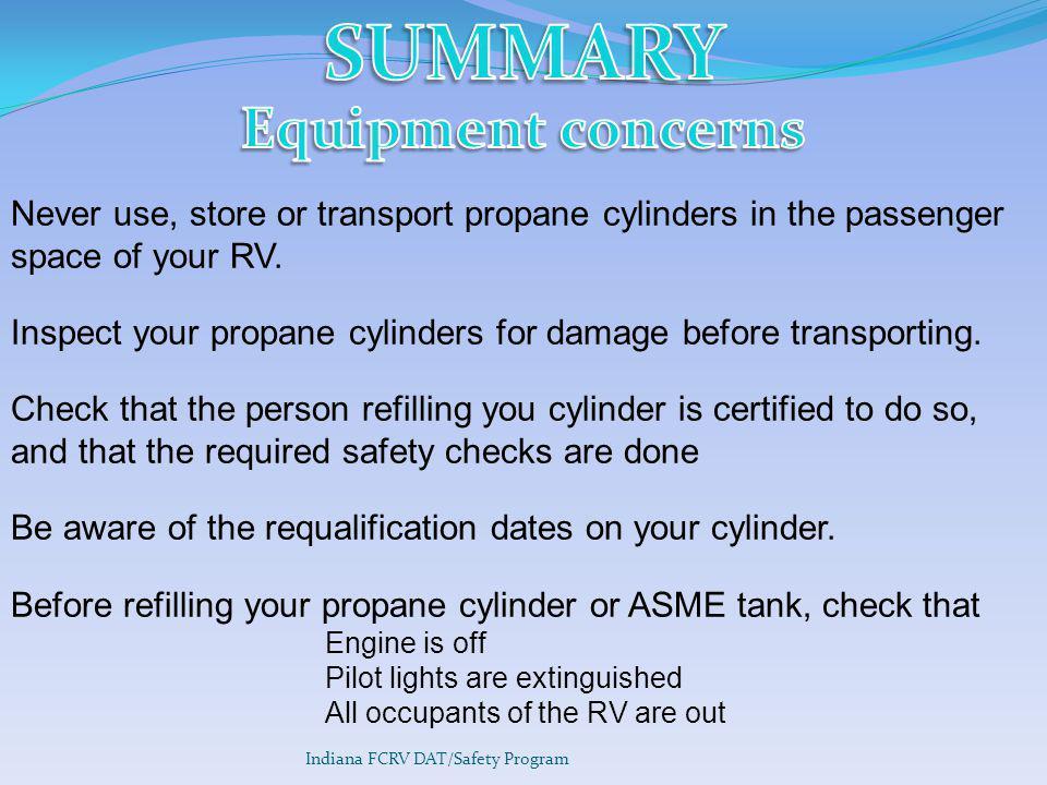 SUMMARY Equipment concerns