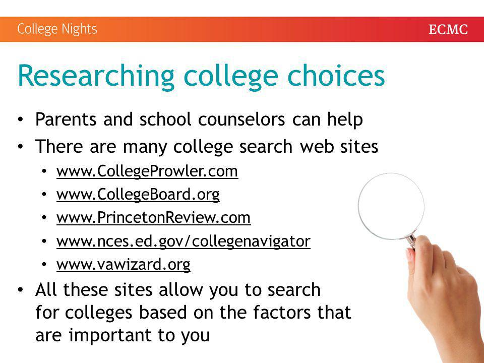 Researching college choices