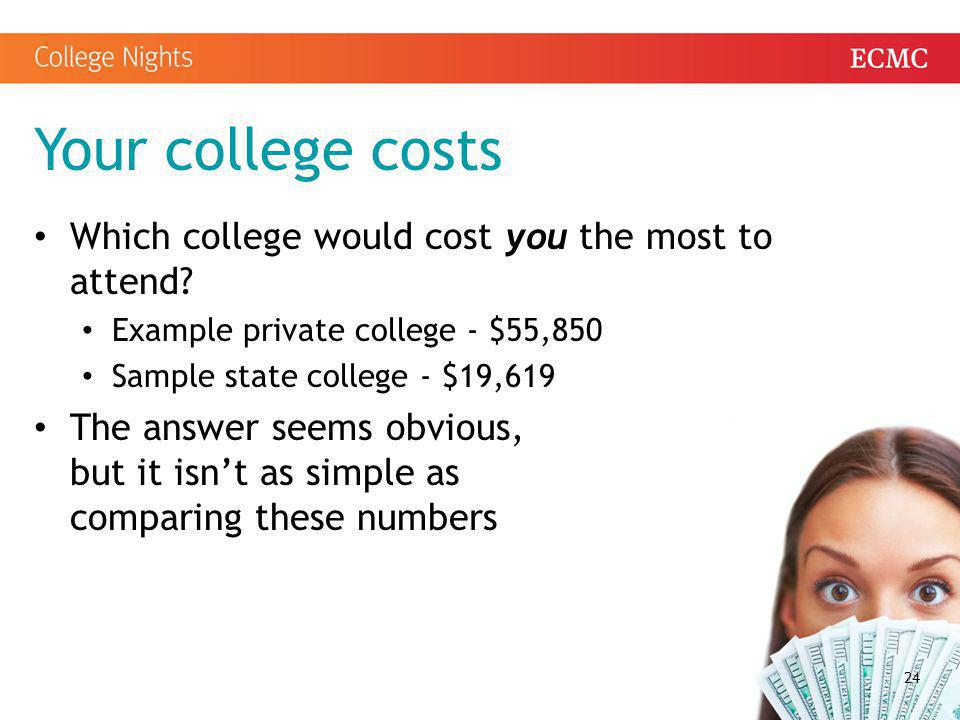 Your college costs Which college would cost you the most to attend