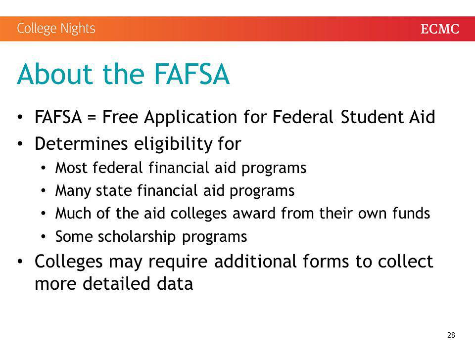 About the FAFSA FAFSA = Free Application for Federal Student Aid