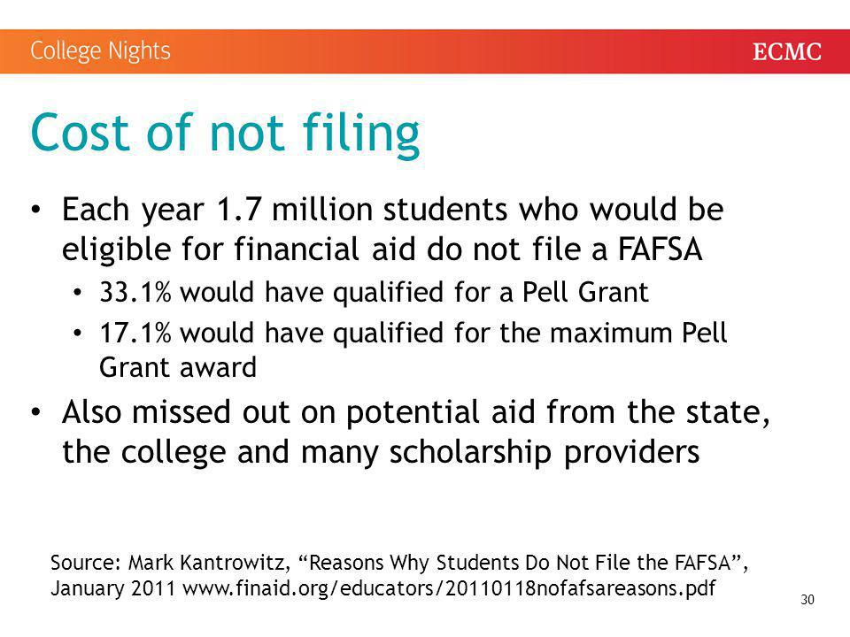 Cost of not filing Each year 1.7 million students who would be eligible for financial aid do not file a FAFSA.