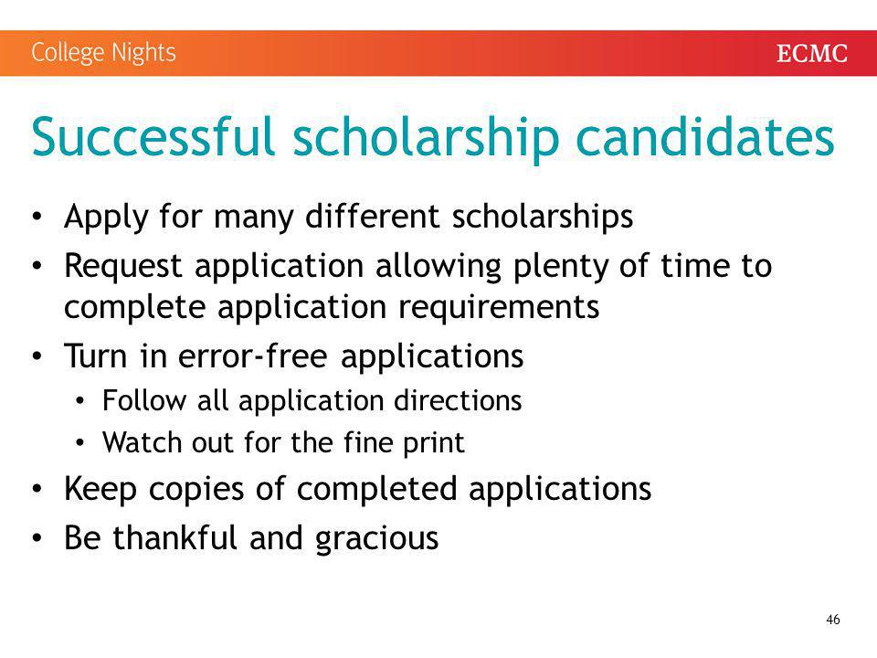 Successful scholarship candidates