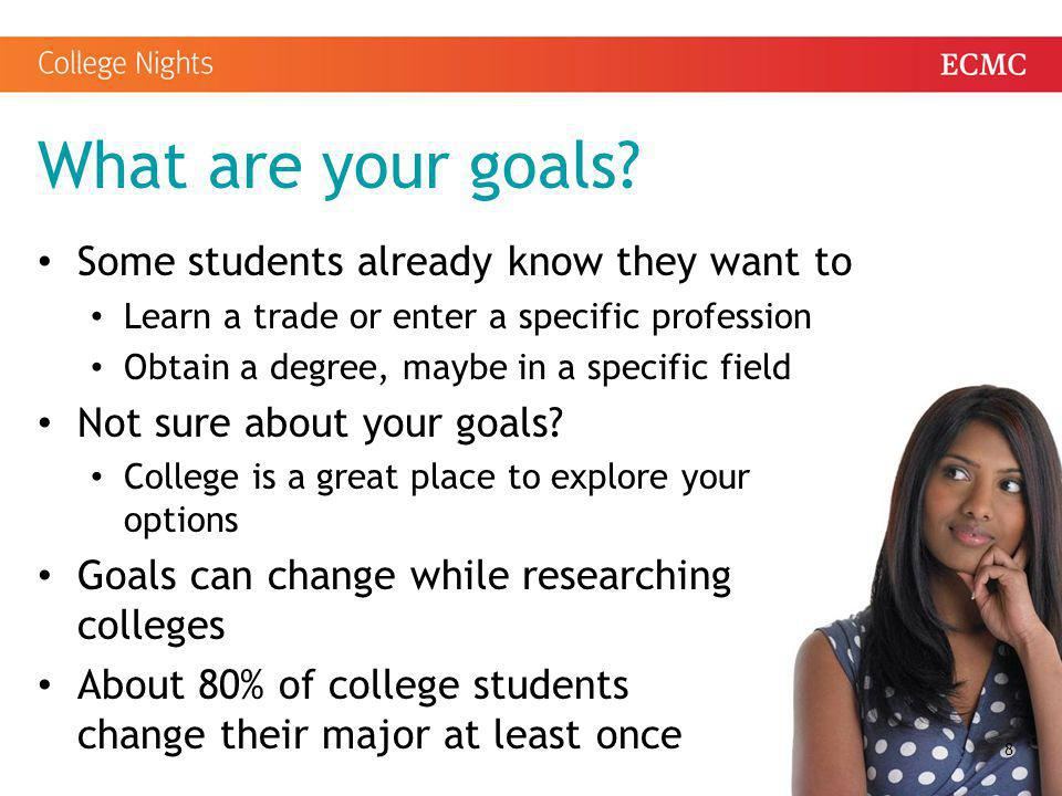 What are your goals Some students already know they want to