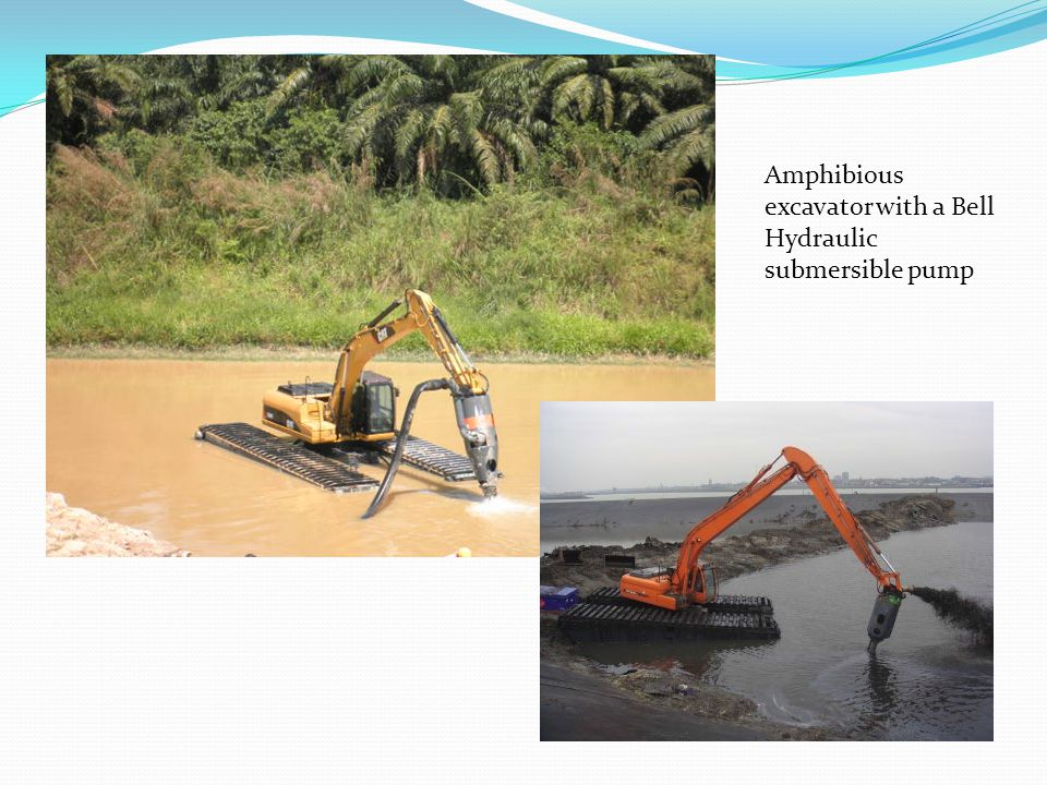 Amphibious excavator with a Bell Hydraulic submersible pump