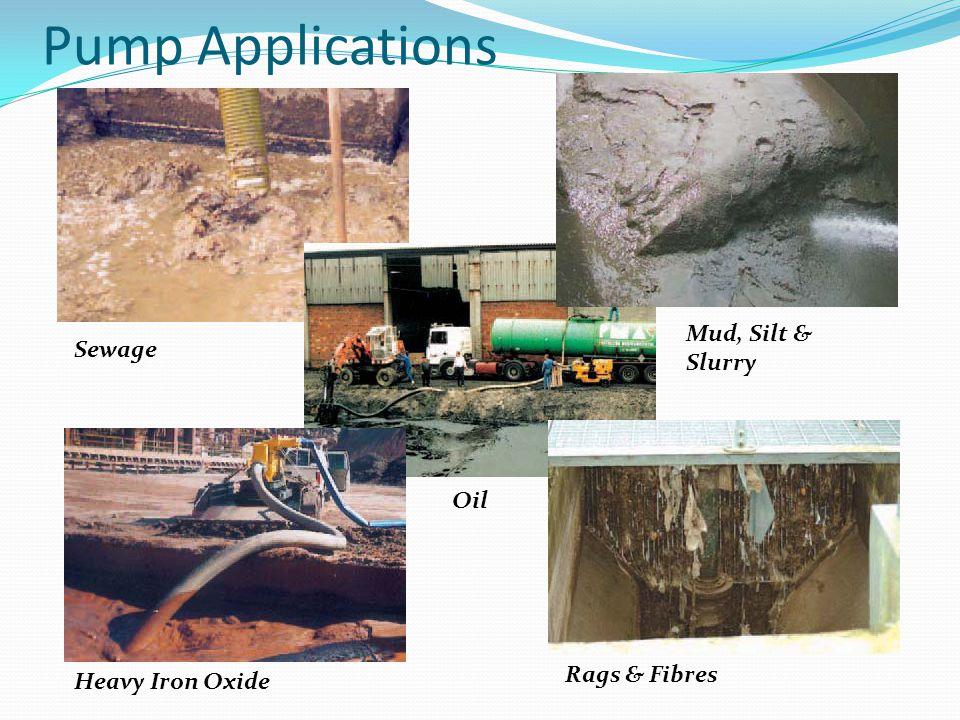Pump Applications Mud, Silt & Slurry Sewage Oil Rags & Fibres
