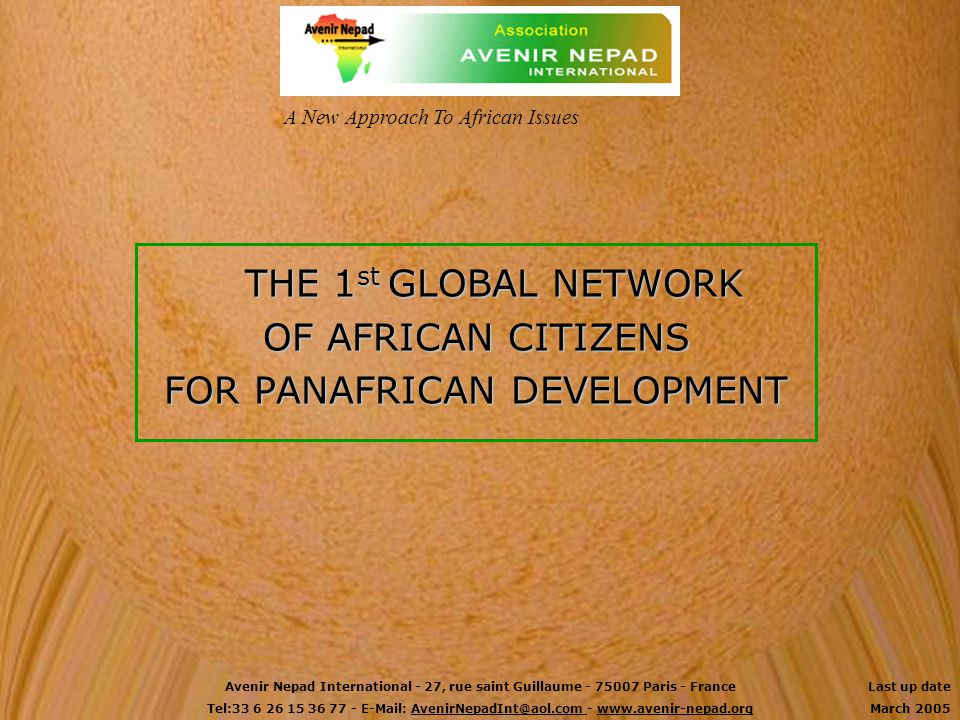 FOR PANAFRICAN DEVELOPMENT