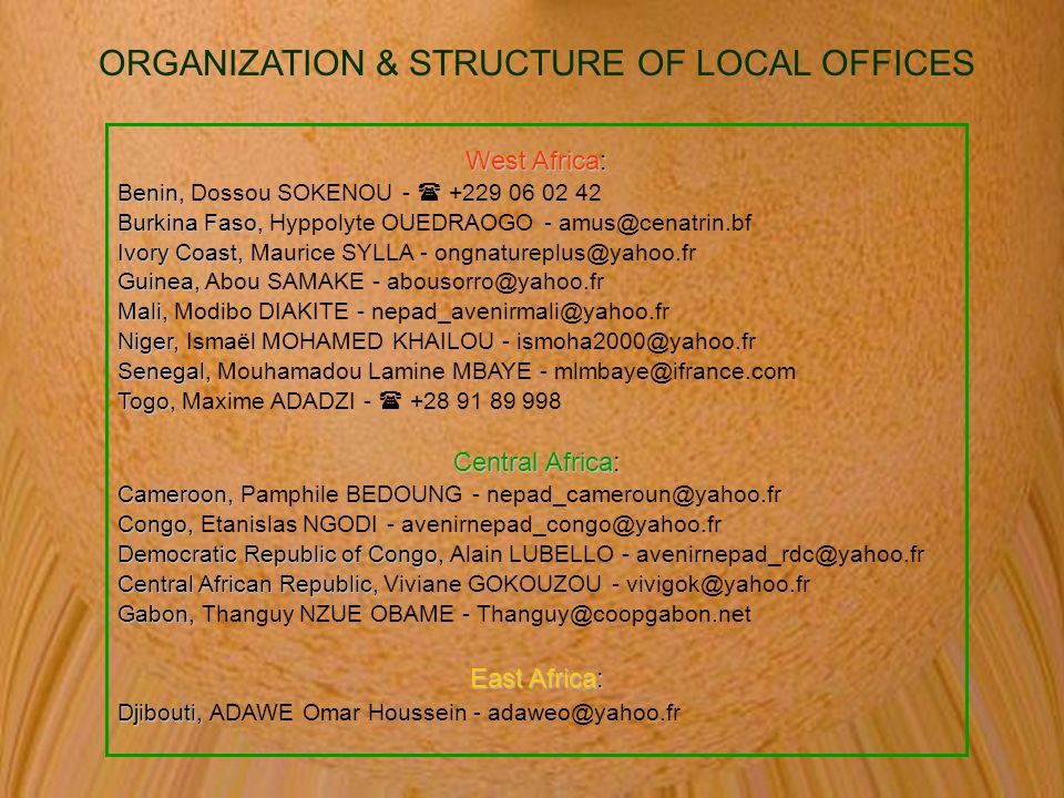 ORGANIZATION & STRUCTURE OF LOCAL OFFICES