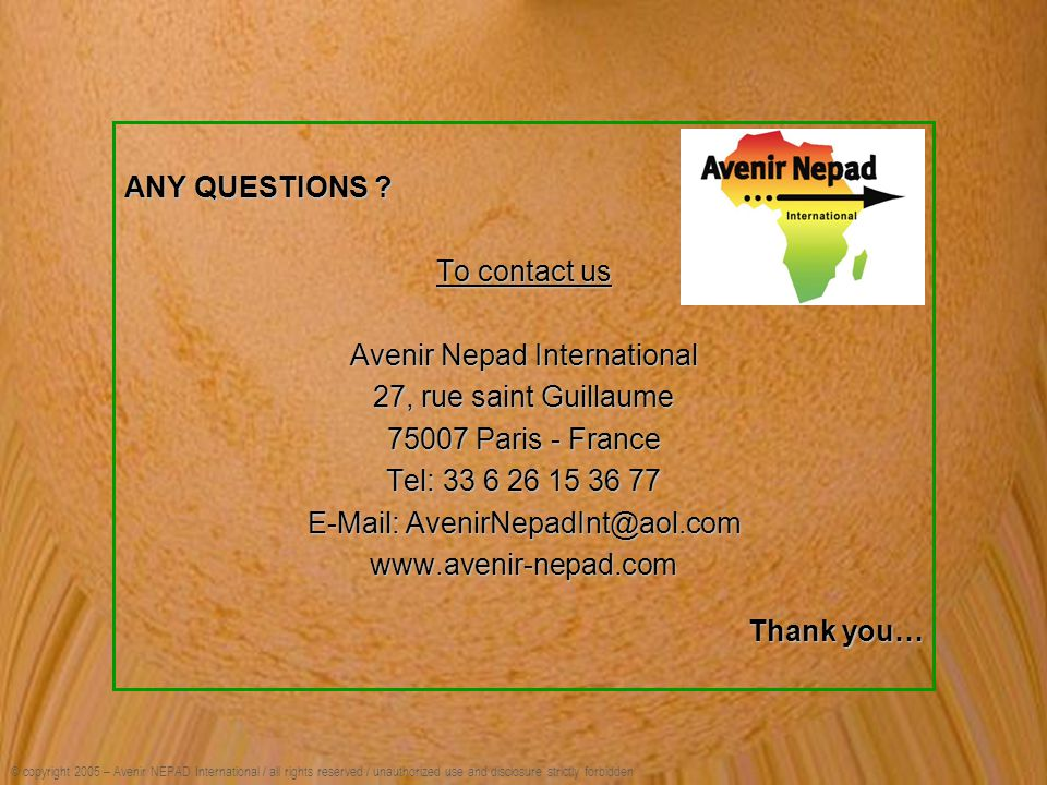 Avenir Nepad International 27, rue saint Guillaume