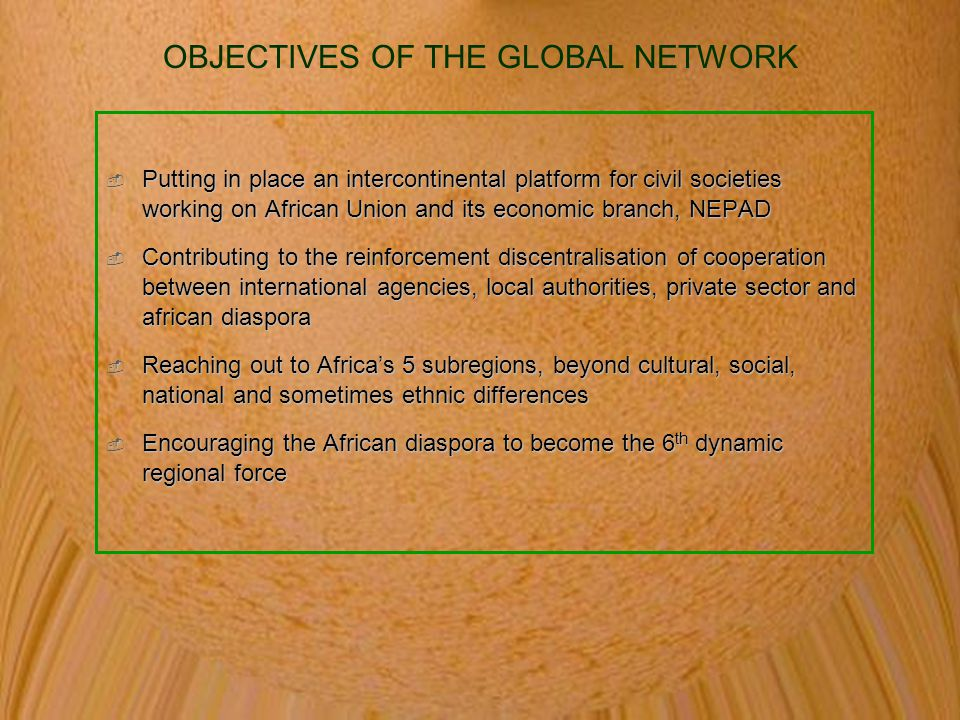 OBJECTIVES OF THE GLOBAL NETWORK
