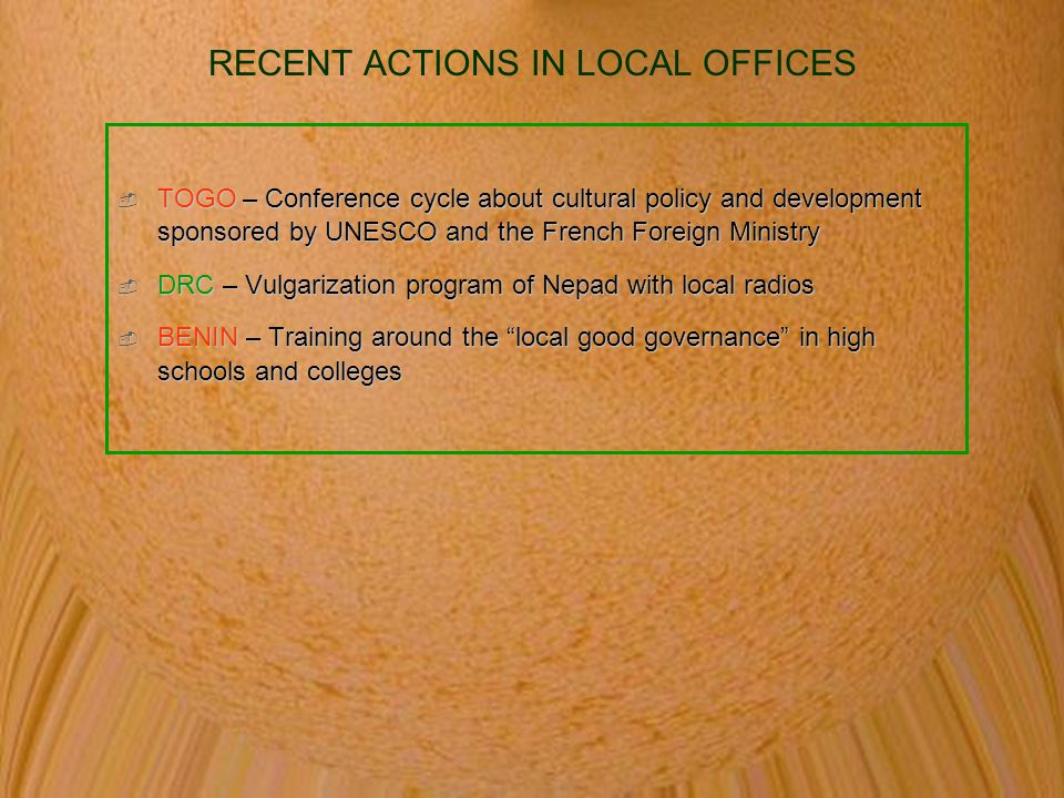 RECENT ACTIONS IN LOCAL OFFICES