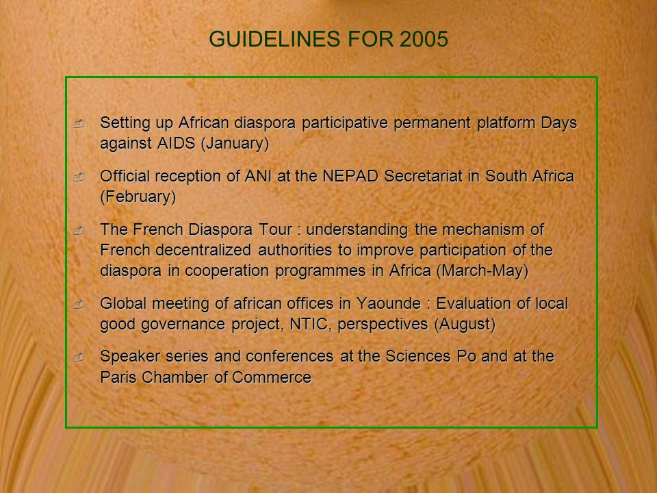 GUIDELINES FOR 2005 Setting up African diaspora participative permanent platform Days against AIDS (January)