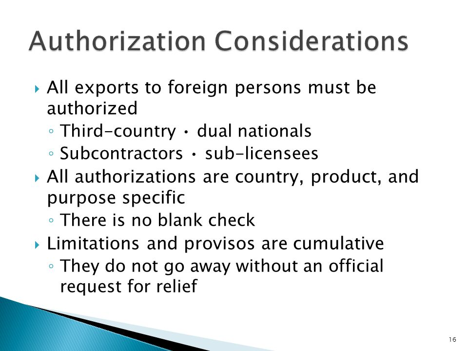 Authorization Considerations