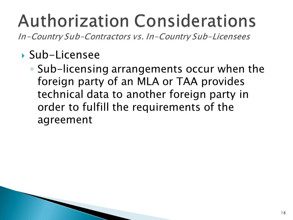 Authorization Considerations In-Country Sub-Contractors vs