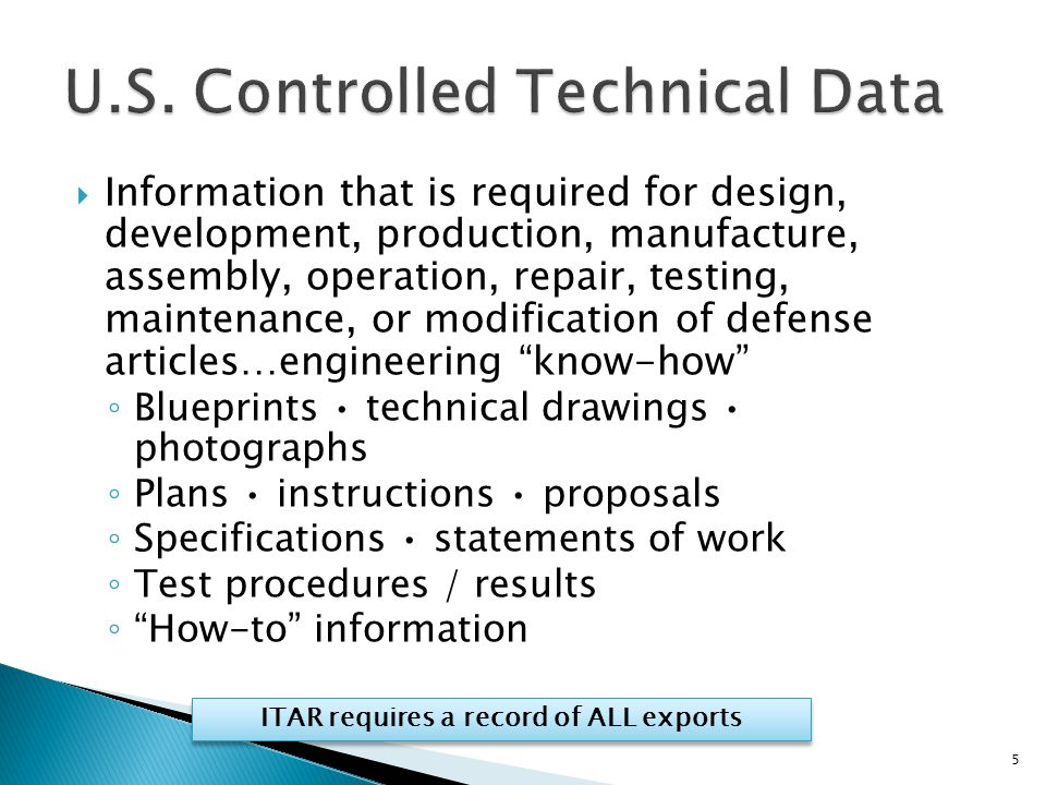 U.S. Controlled Technical Data