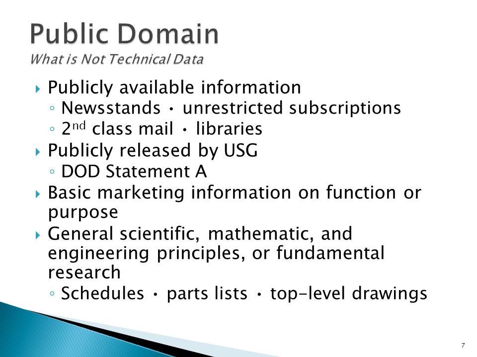Public Domain What is Not Technical Data