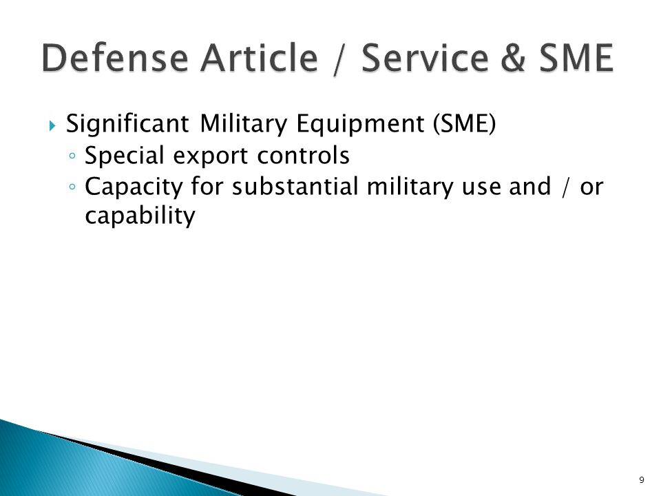 Defense Article / Service & SME