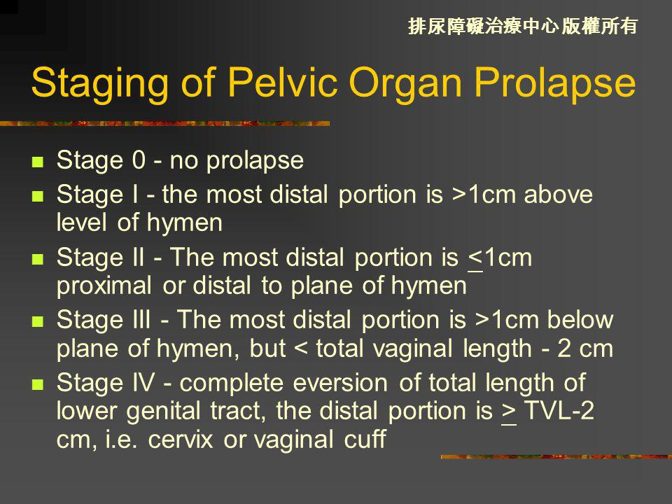 Staging of Pelvic Organ Prolapse