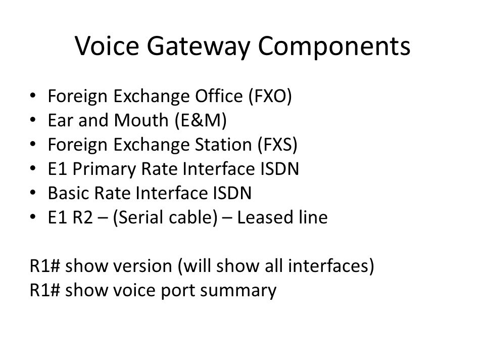 Voice Gateway Components