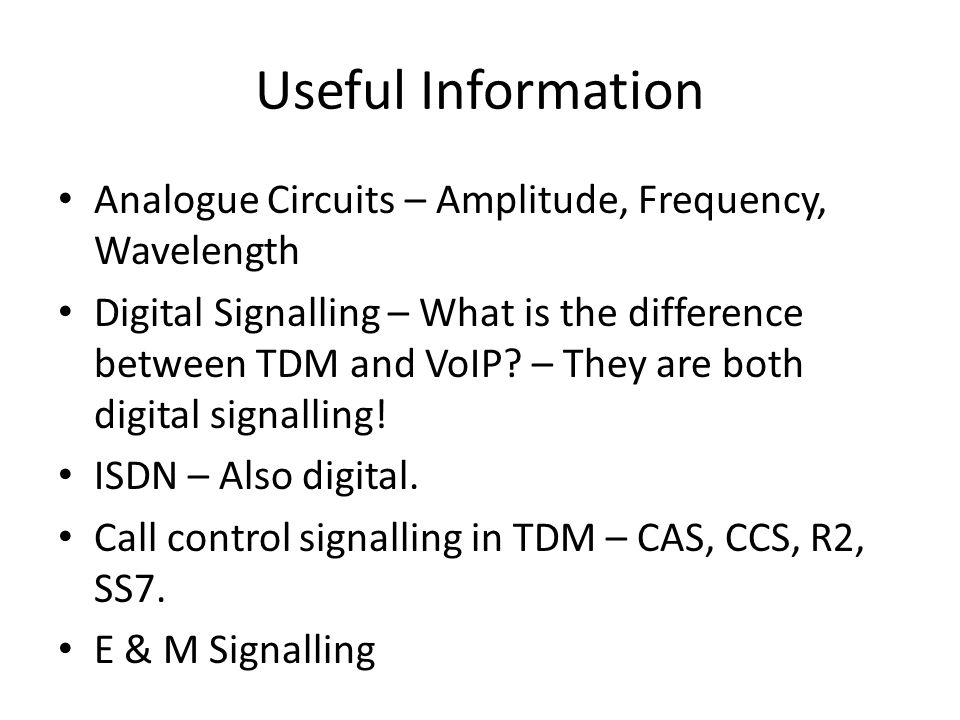 Useful Information Analogue Circuits – Amplitude, Frequency, Wavelength.
