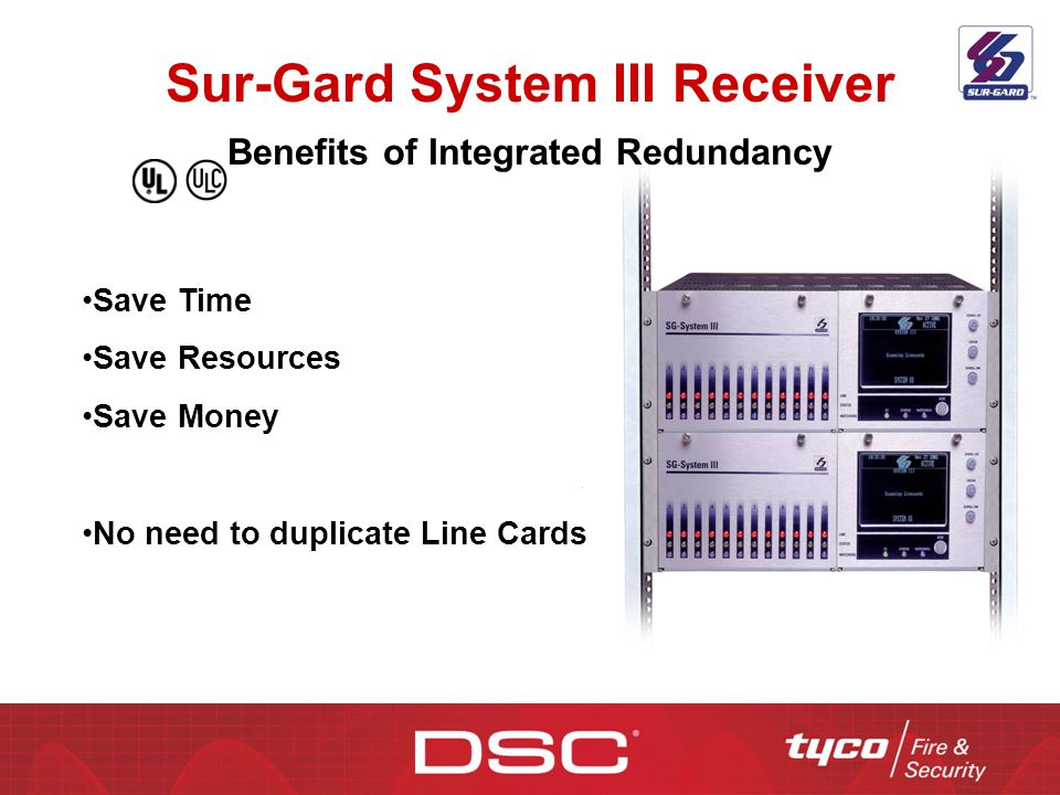 Sur-Gard System III Receiver Benefits of Integrated Redundancy