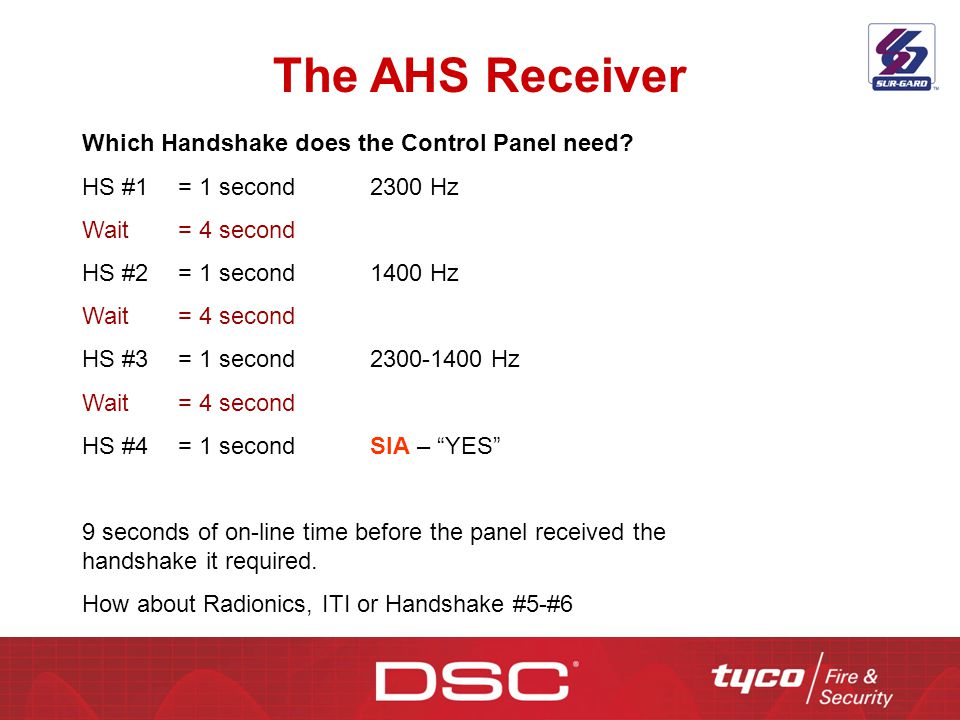 The AHS Receiver Which Handshake does the Control Panel need