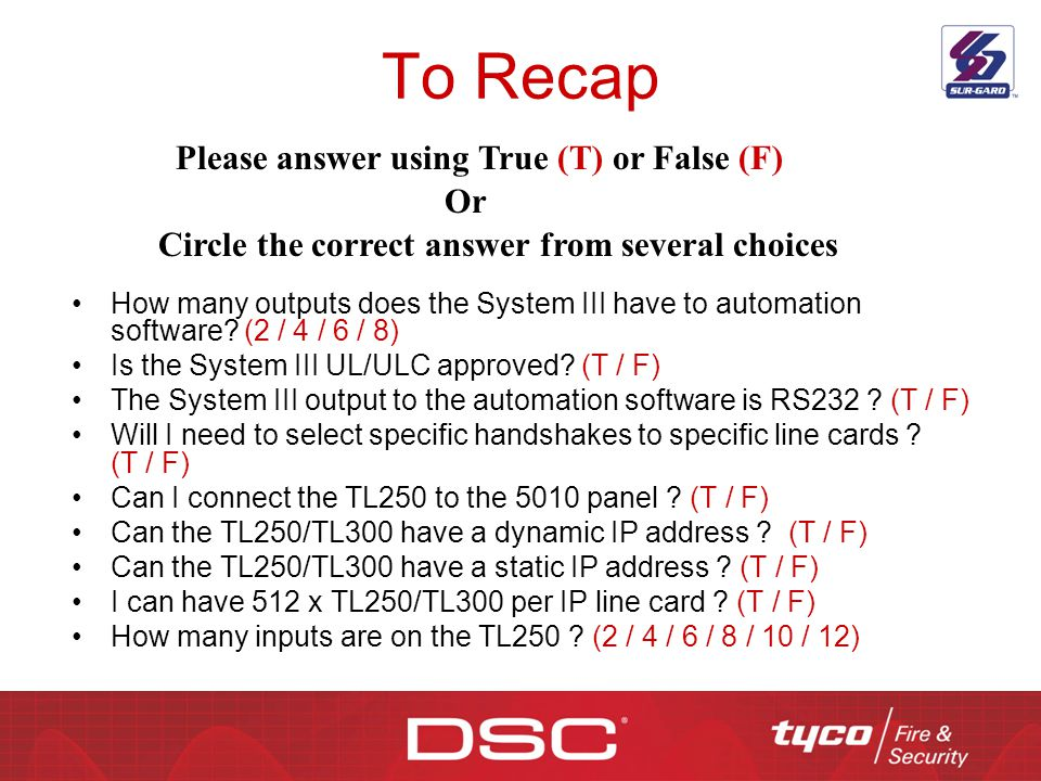 To Recap Please answer using True (T) or False (F) Or