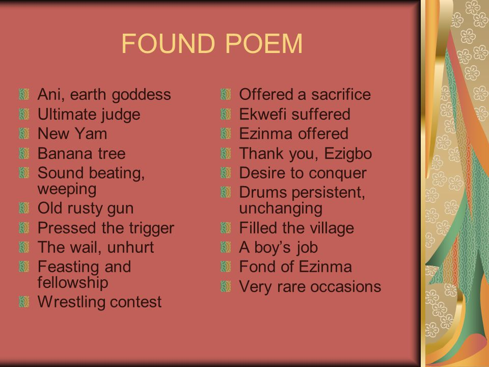 FOUND POEM Ani, earth goddess Ultimate judge New Yam Banana tree