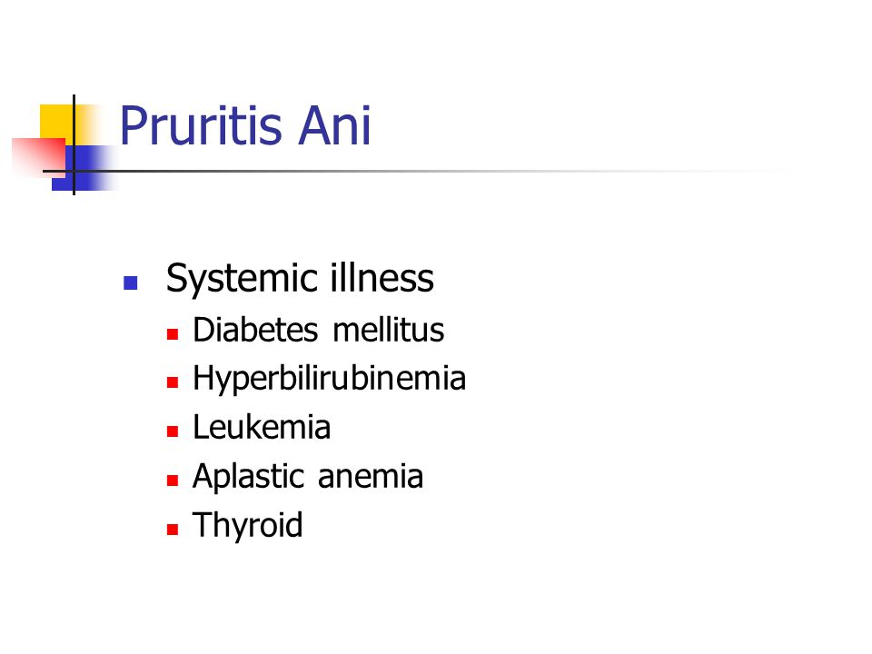 Pruritis Ani Systemic illness Diabetes mellitus Hyperbilirubinemia