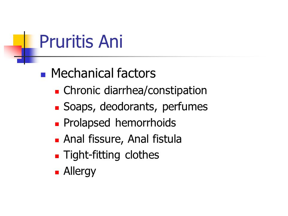 Pruritis Ani Mechanical factors Chronic diarrhea/constipation