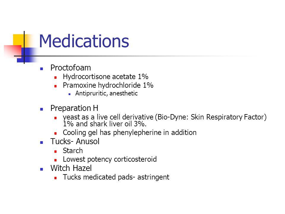 Medications Proctofoam Preparation H Tucks- Anusol Witch Hazel