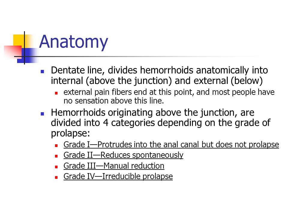 Anatomy Dentate line, divides hemorrhoids anatomically into internal (above the junction) and external (below)