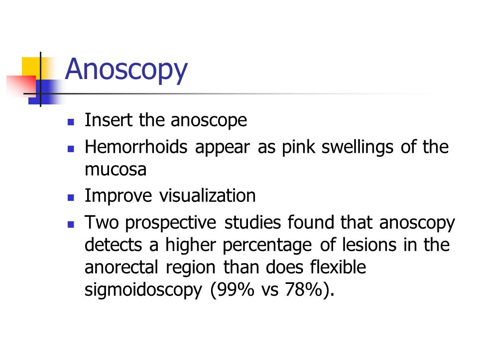 Anoscopy Insert the anoscope